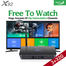 Amazing X92 Android 6.0 Smart TV Box 32GB Spainish Portugal Channels QHDTV Code Subscription Europe French Arabic IPTV STB Box(China)