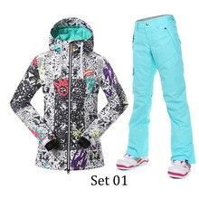 2017 Cheap Outdoor Sportwear Women Winter Skiing Jacket And Pant Waterproof And Windproof Female Snowboarding Suits Discount Now(China)