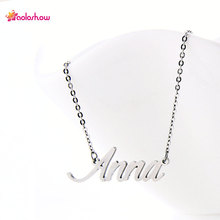 "AOLOSHOW Name Script letter necklace "" Anna "" Women Alphabet Name Necklace Stainless Steel Charms NamePlate Necklace ,NL-2390"