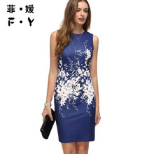 FY 2017 Summer Dress Women O Neck Aboe Knee Mini Party Dresses Natural Above Knee Mini Print Dress Plus Size