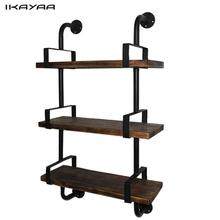 iKayaa 3-Tier Rustic Industrial Iron Pipe Wall Shelves Wood Planks Bookcase Storage Floating Shelf for Home US FR DE Stock(China)
