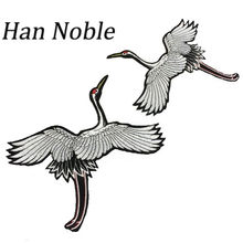 Han Noble Big Large Crane Iron on Sewing Patches for Clothing Applique Embroidery Diy Accessory Suppliers Stickers P115 1Pair