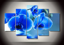 Hot Sale 5 Pieces/set Blue Orchid Flowers Group Painting Canvas Print Wall Pictures For Room Decoration Living Unframed