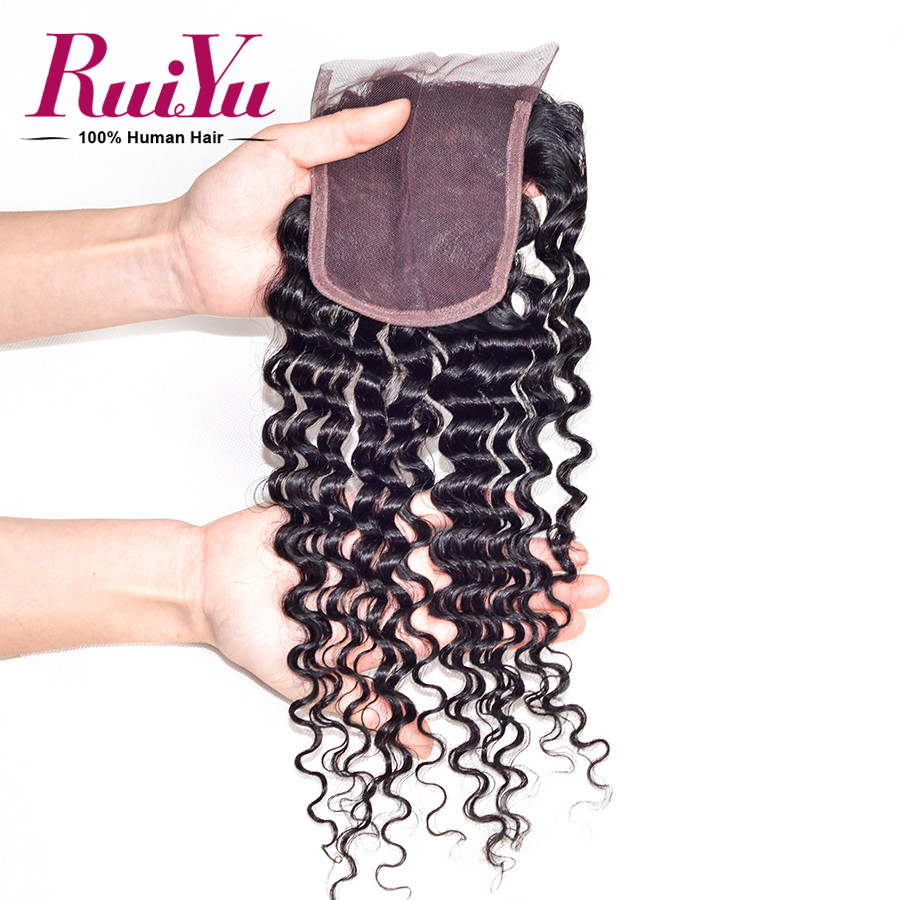 RuiYu Hair Unprocessed Virgin Indian Lace Closure Deep Wave 7A 4x4 Swiss Lace Closure Deep Wave Curly Indian Lace Closure<br><br>Aliexpress