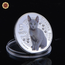 999. Silver Plated Coins Russian Blue Colored Cat Silver Coins Collection Gifts Commemorative Coins Metal Crafts(China)