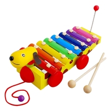 New Children Boys Girls Toy Little Yellow Gog Drags Pounded Wooden Piano Educational Baby Boys Girls Toy