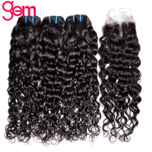 Indian Water Wave with Closure 3Pcs Human Hair Bundles with Middle Part Lace Closure with Baby Hair GEM Beauty Non-Remy Weave 1B(China)