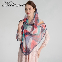 Neelamvar 2017 women's scarves new geometric leaves print silk feeling georgette thin long shawl ladies soft muslim hijab wraps(China)