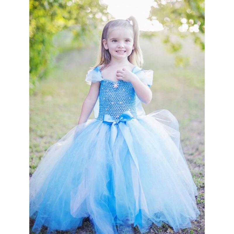 Anna Elsa Princess Girls Tutu Dresses Halloween Cosplay Costumes Girls Party Ball Gown Dresses For Vestidos de festa T50<br><br>Aliexpress