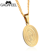 GAGAFEEL Necklace For Men Skull Necklaces Catholicism Round Pendant Stainless Steel Male Chain Religious Jewelry Punk Rock Style