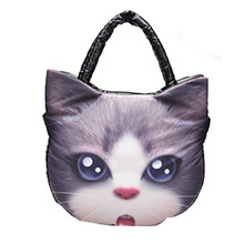 Cute woman cat handbag 3D printing cat pattern space cotton material down jacket bag large shopping bag kitten Shoulder Bags(China)