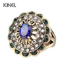 Kinel Fashion Antique Jewelry Oval Blue Resin Retro Rings For Women Inlaid Crystal Flower Party Ring 2017 New