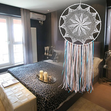 White Handmade Macrame Dream Catcher Wall Hanging Home Car Decor Ornament Hoop Feather Dreamcatcher Hanging Craft Decorative