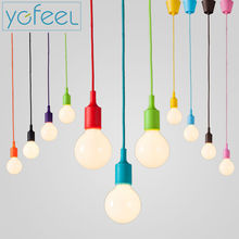 [YGFEEL] Pendant Lights Modern Simple Single Head Silica Gel Pendant Lamps AC90-260V E27 Holder 100cm Cord Thirteen Colors(China)