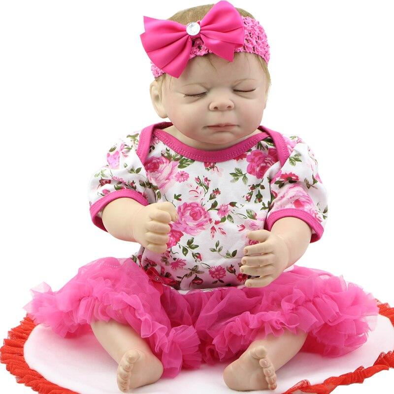 20 Inch 50 cm Cute Reborn Baby Girl Full Body Silicone Vinyl Lifelike Princess Babies With Flower Dress Kids Birthday Xmas Gift<br><br>Aliexpress