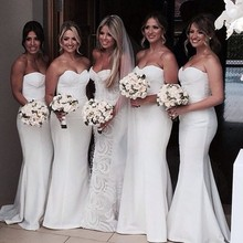 Simple Cheap Wedding Party Dresses White Bridesmaid Dress Fast Shipping Mermaid Long Bridesmaid Dresses
