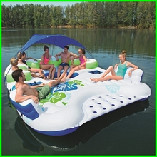Hot Sale Canopy Island Type 7 Person Inflatable Floating River Pool Raft Lounge Huge Breeze Floating Island(China)