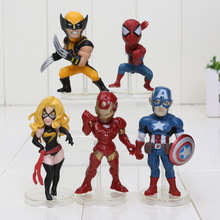 5pcs/set 5-7cm The Avengers suprheroes Black widow Captain America Iron Man Spiderman PVC Action Figures Model Toys