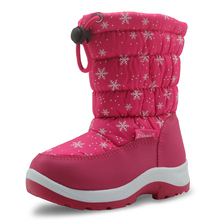 APAKOWA Winter Waterproof Girls Snow Boots Mid-Calf Children's Shoes Flat Warm Plush Winter Boots for Girls with Wollen Lining(China)