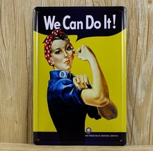 "Hot sale XD021 Vintage metal painting""We Can Do It"" Tin signs Art home decor House Cafe Bar metal wall art 20x30 CM(China)"