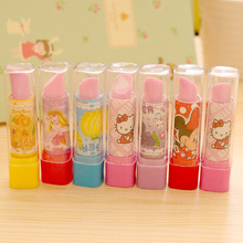 1Pcs Cartoon Princess Kitty Fruits Lip Stick Shape Novelty Eraser Rubber Primary School Student Prizes Gift Stationery E0520(China)