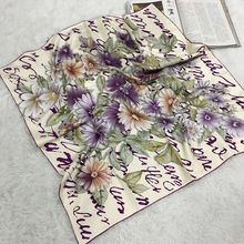 Temperament Floral Print 100% Silk Twill Scarf Shawl Wraps Ladies Luxury Square 90 Silk Scarfs Hijab Bandana Charming Accessory