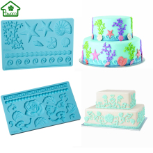 Silicone Fondant Cake Mold Beautiful Rose Flower Plant Baroque Gum Paste Mold Beaded Pearl Strands Mould Cake Fondant Decoration(China)