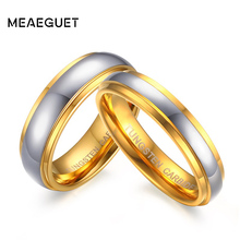 Meaeguet Top Grade Bijoux Lover's Ring Couple Jewelry Gold-Color Tungsten Carbide Romantic Wedding Ring