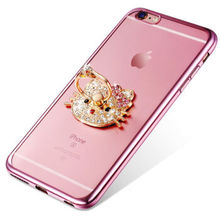 Hello kitty Cat Ring Stand Bracket Cover Case For iphone 5 5s 6 6s 6s plus Phone Accessories PC Acrylic Hard phone Bags cases(China)