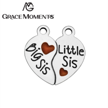 Buy Grace Moments 316L Stainless Steel Charm 15*16mm Broken Heart Big Sis & Little Sis Stamped DIY Family Charm 20sets/lot for $5.84 in AliExpress store
