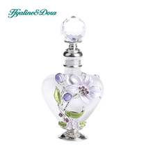 9ml Vintage Lily Design Empty Refillable Glass and Metal Perfume Container Bottle Oil Bottle Home Decoration Collection