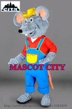 MASCOT Custom Farmer Mouse Mascot Costume Adult Size Cartoon Character Rat Mascotte Mascota Fancy Dress MC71340(China)