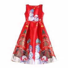 Women Sleeveless Xmas Dresses Santa Snowman Christmas Printed Party Dress Flared Swing Dress Top