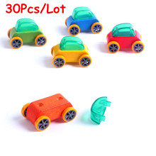 Wholesale 30Pcs/Lot Child Wooden Vehicle Candy Color Beech Mini Car Educational Wooden Toys Early Learning Toys Gift(China)