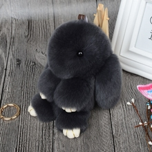 Hot Plush Rabbit Keychain Cute Fluffy Bunny Rex Genuine Rabbit Fur Pompon Hare Key Ring Car Pom Pom Toy Doll Bag Charm For Women