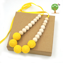 1pc sale Bright yellow Nursing Necklace Yellow Crochet wooden bead Teething Jewelry for New Mom EN38