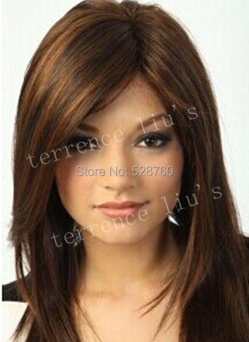 High quality Synthetic hair wig  Brown Medium mix color Straight wigs<br><br>Aliexpress