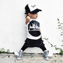 BCS180 2017 Summer new style punk rock baby boy's clothing sets and trousers Harem Pants  fashion T-shirt with the Letter BCS180