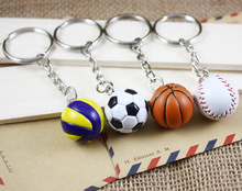 2CM Sports PU Keychain Ball Mini Football Basketball Volleyball Rugby Softball Funny Key Ring Cars Buckle Small Gift Key Chain(China)
