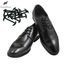 SexeMara 12pcs/set 3 Sizes Men Women Leather Shoes Lazy No Tie Shoelaces Elastic Silicone Shoe Lace Suitable Free Shipping