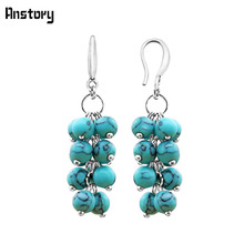 Anstory Handmade Cluster Stone Earrings Antique Silver Plating Fashion Jewelry TE266(China)