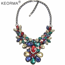KEORMA New Arrival Flowers Necklace Women Multicolour Crystal Inlaid Big Brand Pendant Black Gun Chain Statement Necklace NK352