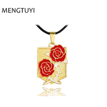 J Store Anime Keepsake Attack on Titan gold Pendants Necklaces Cosplay Rosesbadge Women Necklace choker Pendant 2 Colors(China)