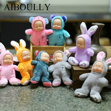 Plush Sleeping Baby Cute Reborn dolls & stuffed toys Rabbit Bear Mobile Phone Bag Car Ornaments Chain Babies PPT Cotton