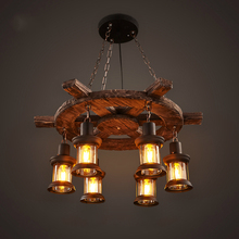 Retro Industrial Pendant Lamp 6 Head Old Boat Wood American Country style Nostalgia Light For Bar Cafe Store Lighting Fixture