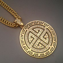 YSN6 Hiphop Men Jewelry Gold Cover Big Round  Pendants Men's Necklace ,Wide 7mm Long 90CM Hip Hop Necklace Trend Jewerlly