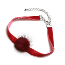 Five Colors Cute Pom Pom Choker Necklace Vintage Women Chokers Handmade Women Jewelry Black Velvet Fur Ball Necklaces NS3431(China)