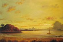 Beautiful Landscape Painting Dawn by Martin Johnson Heade Canvas Wall Painting Handmade 100%