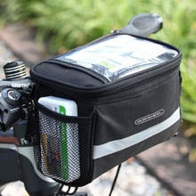 Bike Bag Bicycle Front Bags Bike Cycling Basket Pannier Frame Tube Handlebar Bag Could install Map On it Outdoor Sports EA14