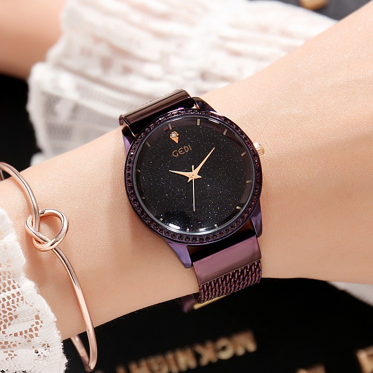 2018 New GEDI Fashion Starry sky Women Watches Top Luxury Brand Ladies Quartz Watch 2 Pieces Watches Stainless Steel Waterproof<br>